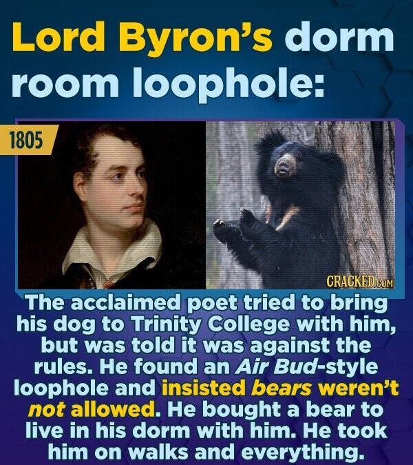 Lord Byron's dorm room loophole: 1805 CRACKED COM The acclaimed poet tried to bring his dog to Trinity College with him, but was told it was against t