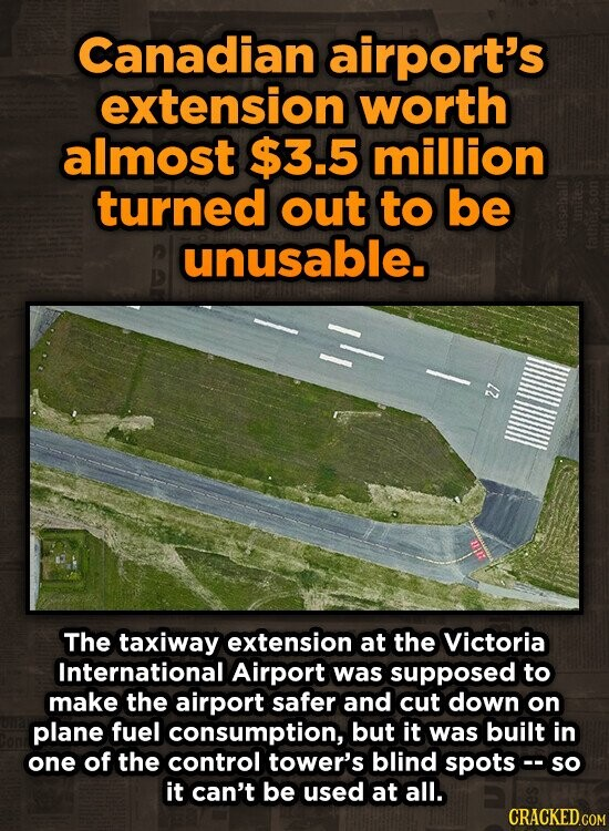 Canadian airport's extension worth almost $3.5 million turned out to be unusable. 2 The taxiway extension at the Victoria International Airport was supposed to make the airport safer and cut down on plane fuel consumption, but it was built in one of the control tower's blind spots - so it can't