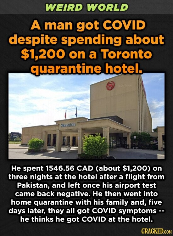 WEIRD WORLD A man got COVID despite spending about $1,200 on a Toronto quarantine hotel. hieralon He spent 1546.56 CAD (about $1,200) on three nights at the hotel after a flight from Pakistan, and left once his airport test came back negative. He then went into home quarantine with his