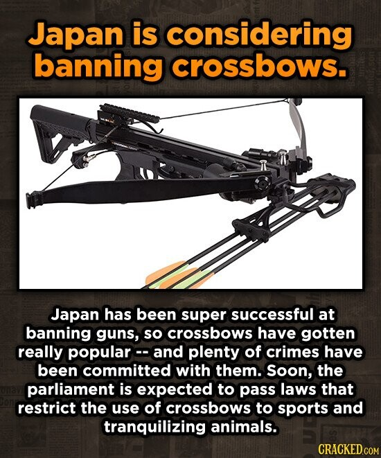 Japan is considering banning crossbows. Japan has been super successful at banning guns, so crossbows have gotten really popularc. and plenty of crimes have been committed with them. Soon, the parliament is expected to pass laws that restrict the use of crossbows to sports and tranquilizing animals. CRACKED.COM