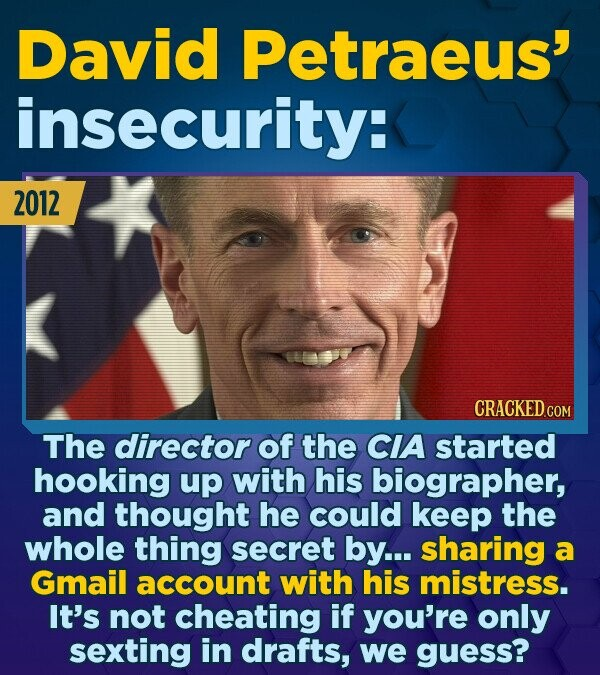 David Petraeus' insecurity: 2012 CRACKED.COM The director of the CIA started hooking up with his biographer, and thought he could keep the whole thing