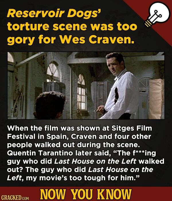 Reservoir Dogs torture scene was too gory for Wes Craven. When the film was shown at Sitges Film Festival in Spain, Craven and four other people walke