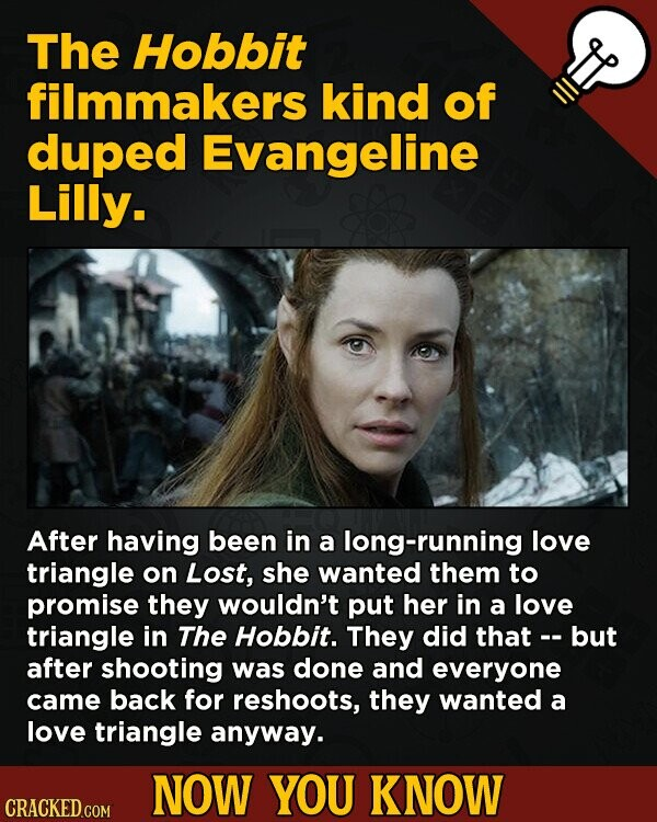 The Hobbit filmmakers kind of duped Evangeline Lilly. After having been in a long-running love triangle on Lost, she wanted them to promise they would