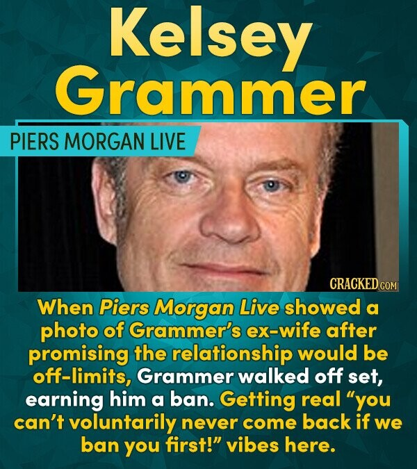 Kelsey Grammer PIERS MORGAN LIVE CRACKEDco COM When Piers Morgan Live showed a photo of Grammer's ex-wife after promising the relationship would be of