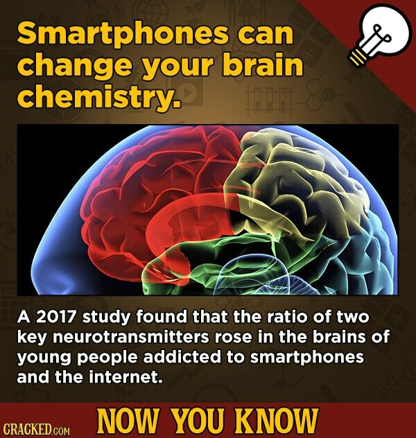 Smartphones can change your brain chemistry. Firi A 2017 study found that the ratio of two key neurotransmitters rose in the brains of young people addicted to smartphones and the internet. NOW YOU KNOW