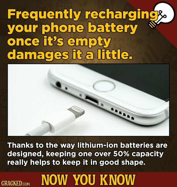 Frequently recharging your phone battery once it's empty damages it a little. Thanks to the way lithium-ion batteries are designed, keeping one over 50% capacity really helps to keep it in good shape. NOW YOU KNOW