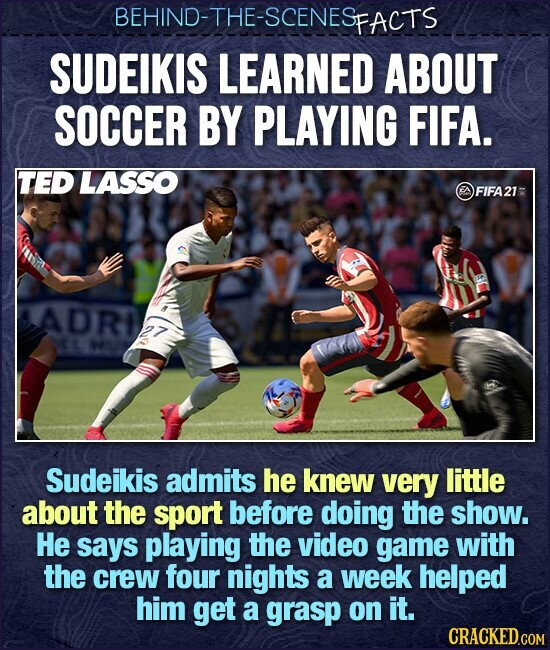 BEHIND-THE-SCENES FACTS SUDEIKIS LEARNED ABOUT SOCCER BY PLAYING FIFA. TED LASSO AFIFA21 ADRIA Sudeikis admits he knew very little about the sport before doing the show. He says playing the video game with the crew four nights a week helped him get a grasp on it.