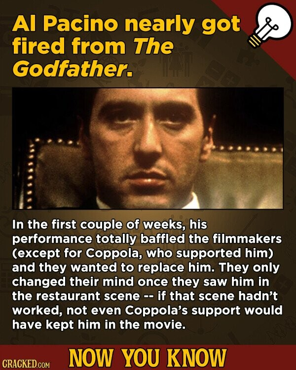 Al Pacino nearly got fired from The Godfather. In the first couple of weeks, his performance totally baffled the filmmakers (except for Coppola, who supported him) and they wanted to replace him. They only changed their mind once they saw him in the restaurant scene -. if that scene hadn't worked,