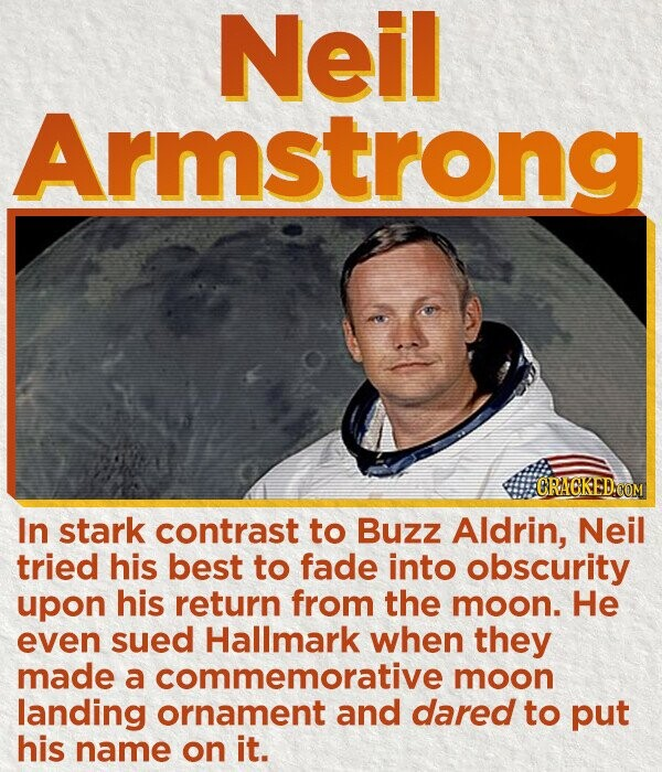 Neil Armstrong CRACKEDOOM In stark contrast to Buzz Aldrin, Neil tried his best to fade into obscurity upon his return from the moon. He even sued Hallmark when they made a commemorative moon landing ornament and dared to put his name on it.