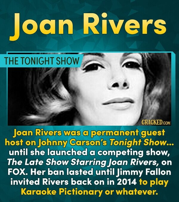 Joan Rivers THE TONIGHT SHOW CRACKEDCO Joan Rivers was a permanent guest host on Johnny Carson's Tonight Show... until she launched a competing show,