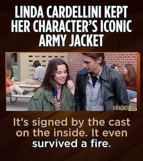 LINDA CARDELLINI KEPT HER CHARACTER'S ICONIC ARMY JACKET CRACKED It's signed by the cast on the inside. It even survived a fire.