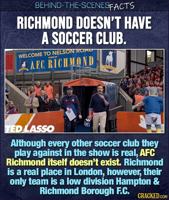 BEHIND-THE-SCENES FACTS RICHMOND DOESN'T HAVE A SOCCER CLUB. TO NELSON ROAD WELCOME A.EC. RICHMOND OME 2ND IACYO DECKER TED LASSO Although every other soccer club they play against in the show is real, AFC Richmond itself doesn't exist. Richmond is a real place in London, however, their only team is