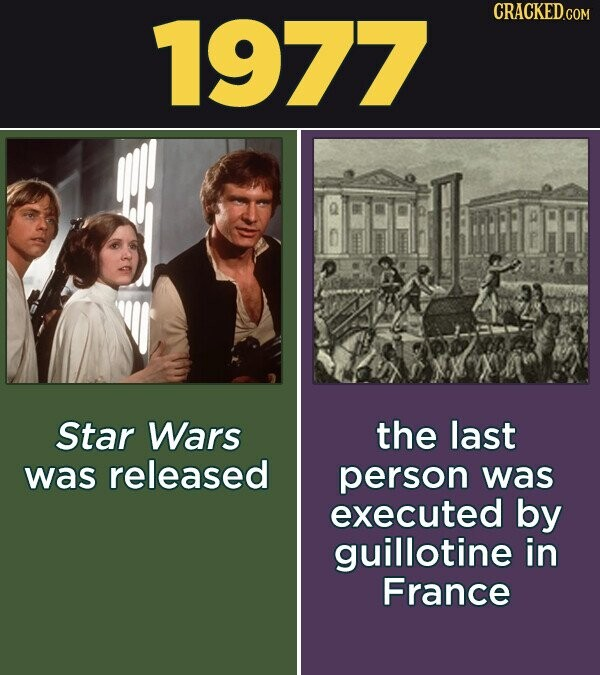 1977 CRACKED.COM Star Wars the last was released person was executed by guillotine in France