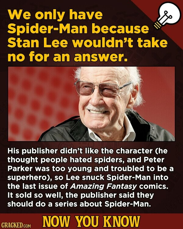 We only have Spider-Man because Stan Lee wouldn't take no for an answer. His publisher didn't like the character (he thought people hated spiders, and