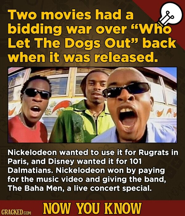 Two movies had a bidding war over Who Let The Dogs Out back when it was released. Nickelodeon wanted to use it for Rugrats in Paris, and Disney wanted it for 101 Dalmatians. Nickelodeon won by paying for the music video and giving the band, The Baha Men, a live