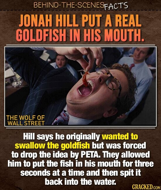 BEHIND-THE-SCENESp FACTS JONAH HILL PUT A REAL GOLDFISH IN HIS MOUTH. THE WOLF OF WALL STREET Hill says he originally wanted to swallow the goldfish but was forced to drop the idea by PETA. They allowed him to put the fish in his mouth for three seconds at a time