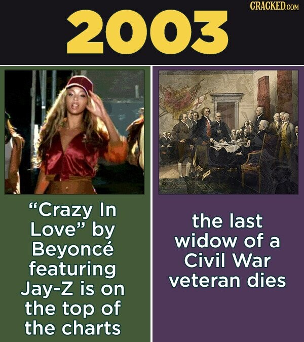 2003 CRACKED.COM Crazy In the last Love by widow of Beyonce a Civil War featuring Jay-Z veteran dies is on the top of the charts