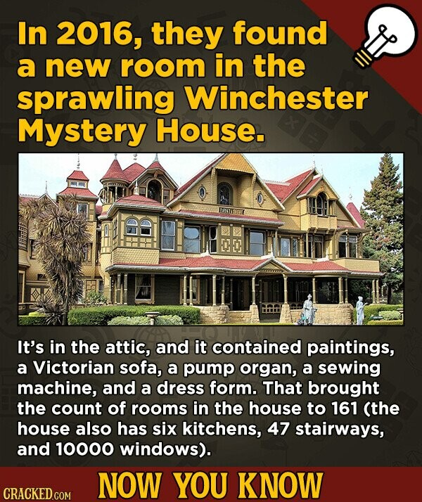 In 2016, they found a new room in the sprawling Winchester Mystery House. ETTRUT It's in the attic, and it contained paintings, a Victorian sofa, a pu