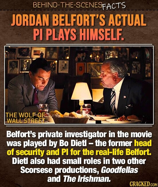 BEHIND-THE-SCENES FACTS JORDAN BELFORT'S ACTUAL PI PLAYS HIMSELF. THE WOLF OF WALL STREET Belfort's private investigator in the movie was played by Bo Diet - the former head of security and PI for the real-life Belfort. Dietl also had small roles in two other Scorsese productions, Goodfellas and The Irishman.