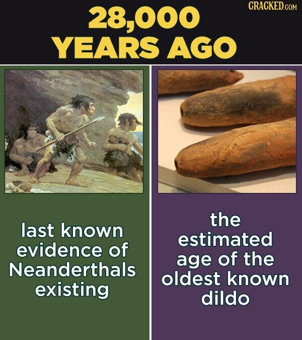 O00 CRACKED.COM YEARS AGO the last known estimated evidence of age of the Neanderthals oldest known existing dildo