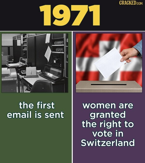 1971 CRACKED.COM the first women are email is sent granted the right to vote in Switzerland