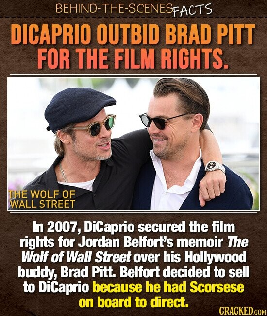 BEHIND-THE-SCENES PFACTS DICAPRIO OUTBID BRAD PITT FOR THE FILM RIGHTS. THE WOLF OF WALL STREET In 2007, DiCaprio secured the film rights for Jordan Belfort's memoir The Wolf of Wall Street over his Hollywood buddy, Brad Pitt. Belfort decided to sell to Dicaprio because he had Scorsese on board to