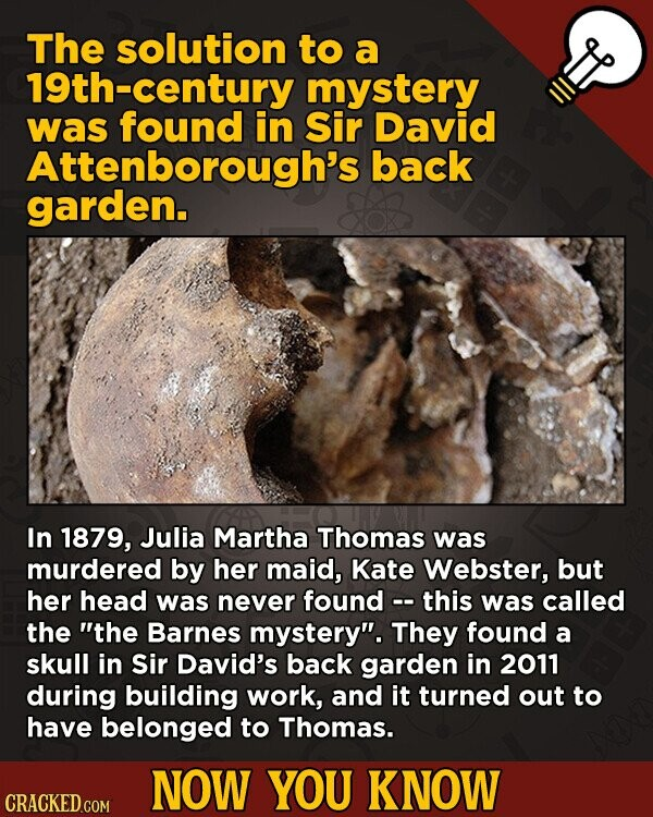 The solution to a 19th-century mystery was found in Sir David Attenborough's back garden. In 1879, Julia Martha Thomas was murdered by her maid.