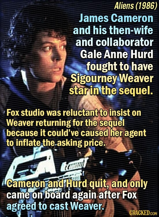 Aliens (1986) James Cameron and his then-wife and collaborator Gale Anne Hurd fought to have Sigourney Weaver star in the sequel. Fox studio was reluctant to insist on Weaver returning for the sequel because it could've caused her agent to inflate the.asking price. D Cameroni and Hurd quit, and only