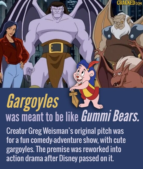 Gargoyles meant to be Gummi Bears. was like Creator Greg Weisman's original pitch was for a fun comedy-adventure show, with cute gargoyles. The premise was reworked into action drama after Disney passed on it.