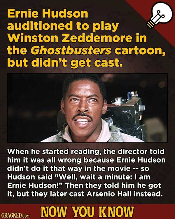 Ghostbusters movie fact - Ernie Hudson auditioned to play Winston Zeddemore in the Ghostbusters cartoon, but didn't get cast.