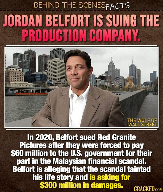 BEHIND-THE-SCENES PFACTS JORDAN BELFORT IS SUING THE PRODUCTION COMPANY. THE WOLF OF WALLSTREET In 2020, Belfort sued Red Granite Pictures after they were forced to pay $60 million to the U.S. government for their part in the Malaysian financial scandal. Belfort is alleging that the scandal tainted his life story