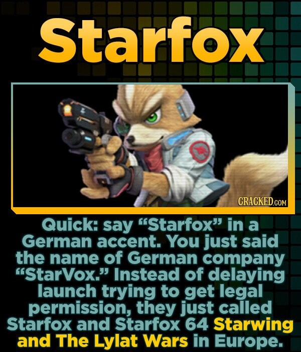 Starfox Quick: say Starfox in a German accent. You just said the name of German company StarVox.' Instead of delaying launch trying to get legal p