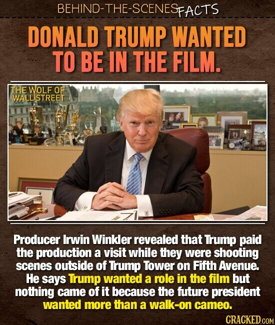 BEHIND-THE-SCENES PFACTS DONALD TRUMP WANTED TO BE IN THE FILM. THE WOLF OF WALLISTREET Producer Irwin Winkler revealed that Trump paid the production a visit while they were shooting scenes outside of Trump Tower on Fifth Avenue. He says Trump wanted a role in the film but nothing came of