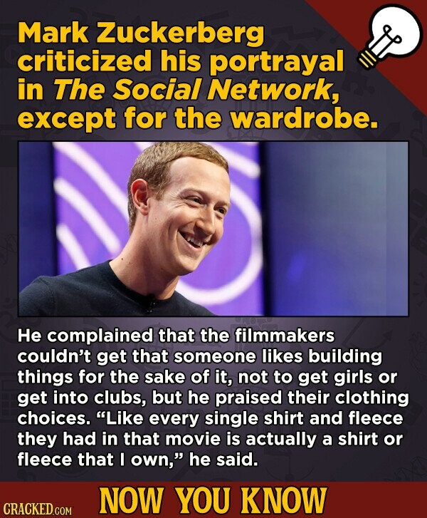 The Social Network movie fact - Mark Zuckerberg criticized his portrayal in The Social Network, except for the wardrobe.