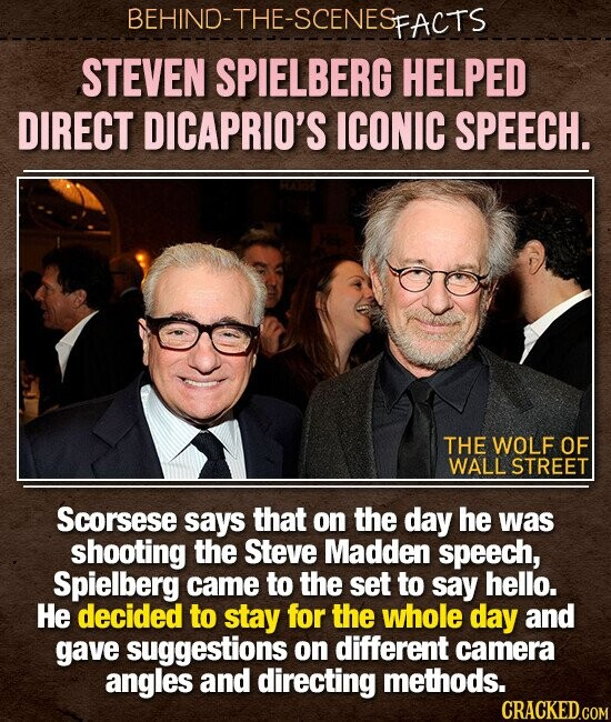 BEHIND-THE-SCENES PFACTS STEVEN SPIELBERG HELPED DIRECT DICAPRIO'S ICONIC SPEECH. THE WOLF OF WALL STREET Scorsese says that on the day he was shooting the Steve Madden speech, Spielberg came to the set to say hello. He decided to stay for the whole day and gave suggestions on different camera angles