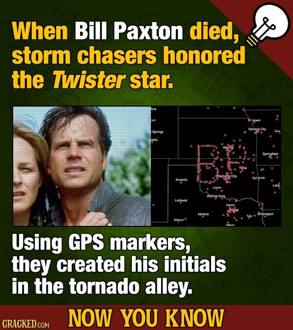 When Bill Paxton died, storm chasers honored the Twister star. Sonoleid Amariio AboNE Sheveport Using GPS markers, they created his initials in the to