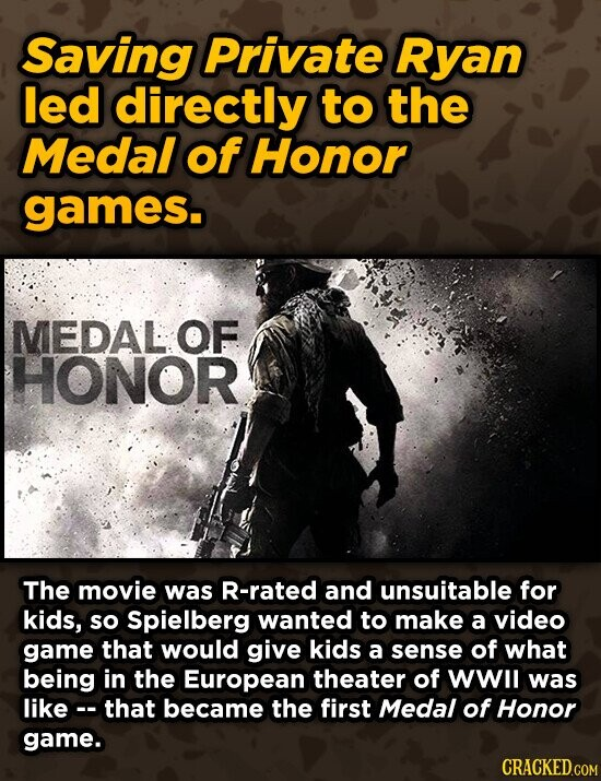 Saving Private Ryan led directly to the Medal of Honor games. MEDAL OF HONOR The movie was R-rated and unsuitable for kids, so Spielberg wanted to make a video game that would give kids a sense of what being in the European theater of wWll was like. that became the