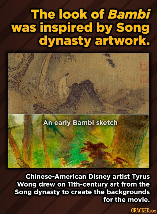 The look of Bambi was inspired by Song dynasty artwork. An early Bambi sketch Chinese-American Disney artist Tyrus Wong drew on 11th-century art from the Song dynasty to create the backgrounds for the movie.