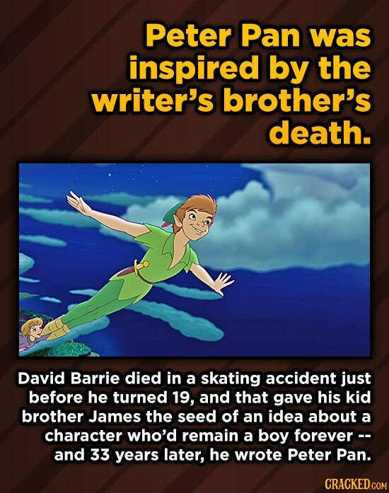 Peter Pan was inspired by the writer's brother's death. David Barrie died in a skating accident just before he turned 19, and that gave his kid brother James the seed of an idea about a character who'd remain a boy forever- and 33 years later, he wrote Peter Pan. CRACKED.COM
