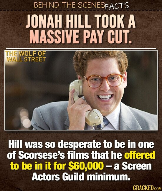 BEHIND-THE-SCENES FACTS JONAH HILL TOOK A MASSIVE PAY CUT. THE WOLF OF WALL STREET Hill was so desperate to be in one of Scorsese's films that he offered to be in it for $60, OOO a Screen Actors Guild minimum. CRACKED.COM