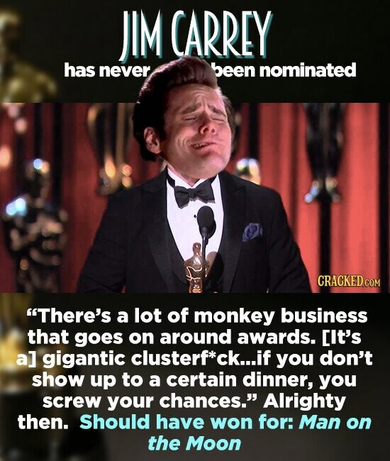 JIM CARREY has never been nominated There's a lot of monkey business that goes on around awards. Cit's a] gigantic clusterf*ck.. if you don't show up to a certain dinner, you screw your chances. Alrighty then. Should have won for: Man on the Moon