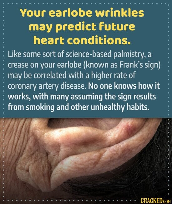 Your earlobe wrinkles may predict future heart conditions. Like some sort of science-base palmistry, a crease on your earlobe (known as Frank's sign) may be correlated with a higher rate of coronary artery disease. No one knows how it works, with many assuming the sign results from smoking and other