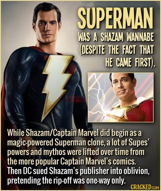 SUPERMAN WAS A SHAZAM WANNABE DESPITE THE FACT THAT HE CAME FIRST). While Shazam/ Captain Marvel did begin as a nagic-powered Superman clone, a lot of Supes' powers and mythos were lifted over time from the more popular Captain Marvel's comics. Then DC sued Shazam's publisher into oblivion, pretending the