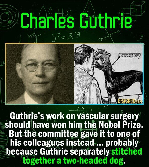 Charles Guthrie TY- 3 THE NAJ EPO ORACKEDCOM Guthrie's work on vascular surgery should have won him the Nobel Prize. But the committee gave it to one