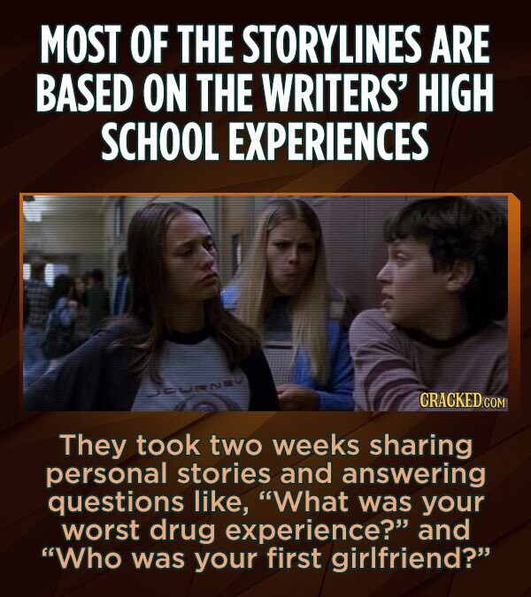 MOST OF THE STORYLINES ARE BASED ON THE WRITERS' HIGH SCHOOL EXPERIENCES CRACKED COM They took two weeks sharing personal stories and answering questions like, What was your worst drug experience? and Who was your first girlfriend?