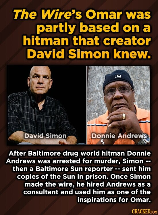 The Wire's Omar was partly based on a hitman that creator David simon knew. David Simon Donnie Andrews After Baltimore drug world hitman Donnie Andrews was arrested for murder, Simonc- then a Baltimore Sun reporterc- sent him copies of the Sun in prison. Once Simon made the wire, he hired
