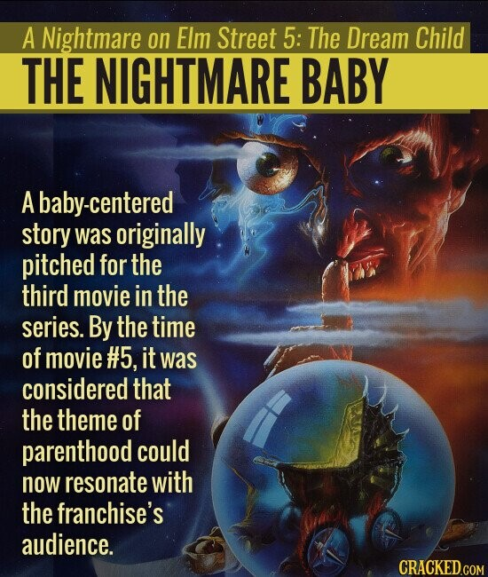 A Nightmare on Elm Street 5: The Dream Child THE NIGHTMARE BABY A baby-centered story was originally pitched for the third movie in the series. By the time of movie #5, it was considered that the theme of parenthood could now resonate with the franchise's audience.