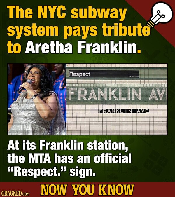 The NYC subway system pays tribute to Aretha Franklin. Respect FRANKLIN AV FRANKLIN AVE At its Franklin station, the MTA has an official Respect. si