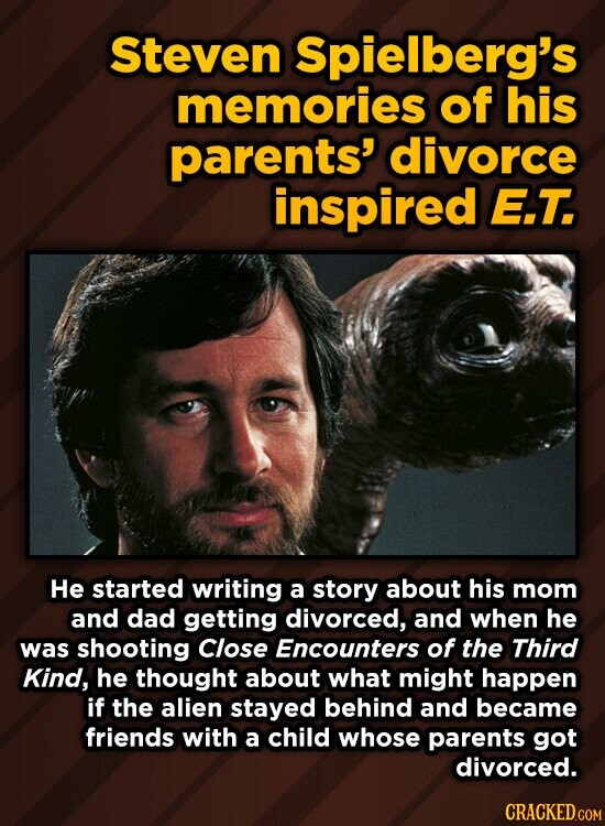 Steven Spielberg's memories of his parents' divorce inspired E.T. He started writing a story about his mom and dad getting divorced, and when he was shooting Close Encounters of the Third Kind, he thought about what might happen if the alien stayed behind and became friends with a child whose