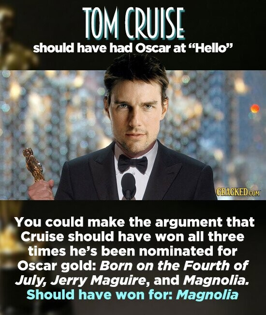 TOM CRUISE should have had Oscar at Hello ORACKEDCON You could make the argument that Cruise should have won all three times he's been nominated for Oscar gold: Born on the Fourth of July, Jerry Maguire, and Magnolia. Should have won for: Magnolia